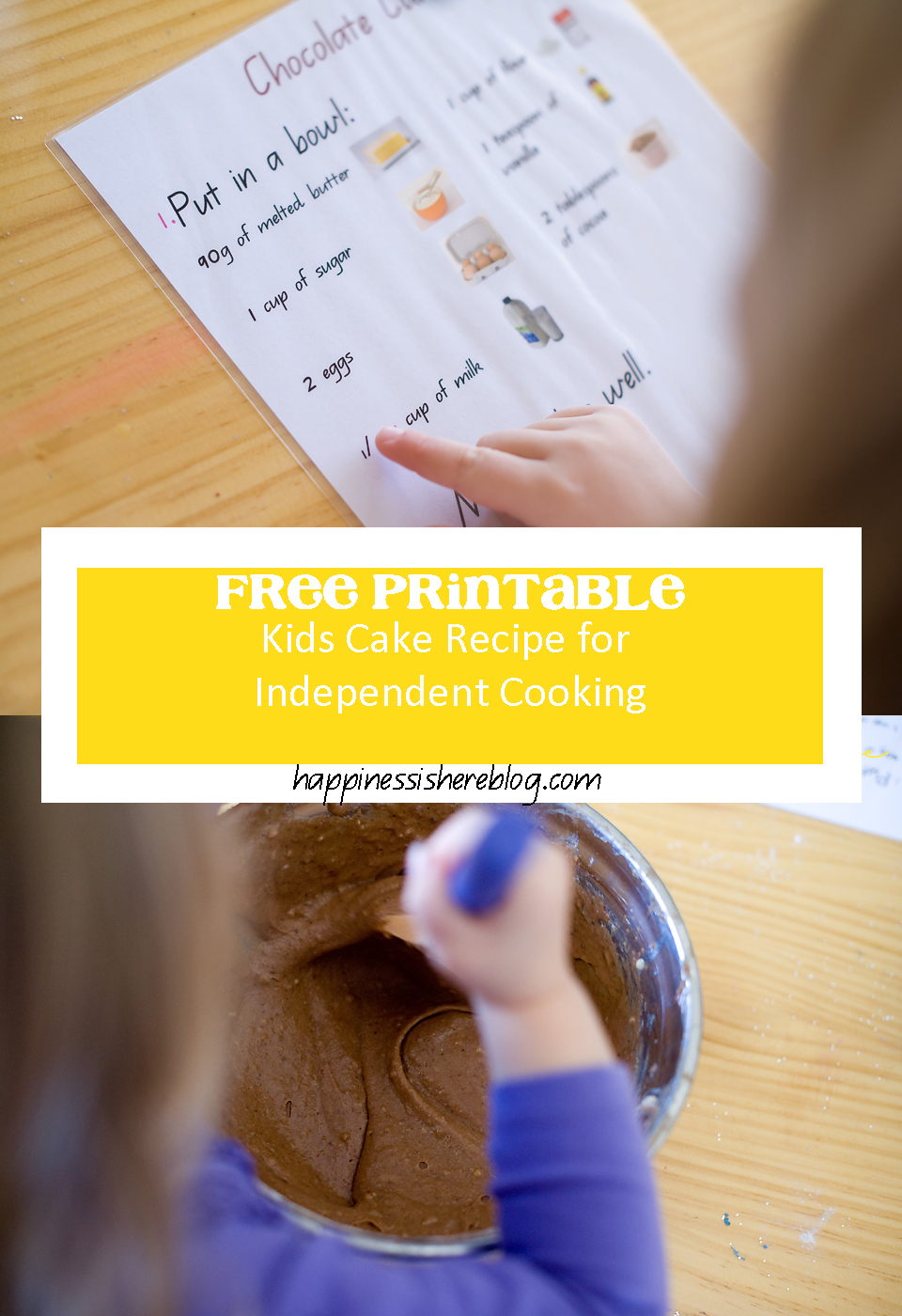 FREE PRINTABLE: Kids recipe for independent cooking | Happiness is here www.happinessishereblog.com