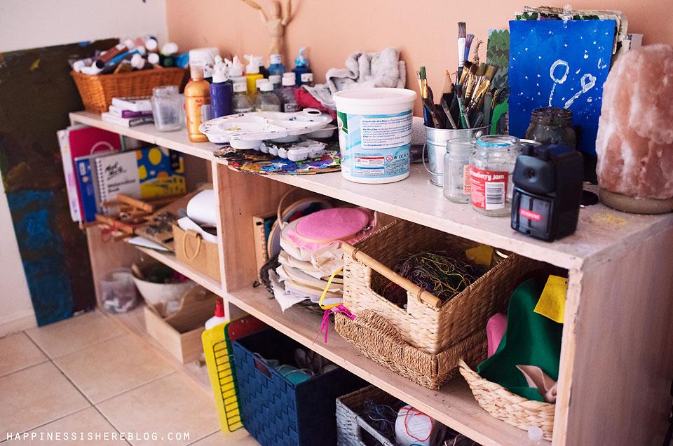 homeschool art shelves